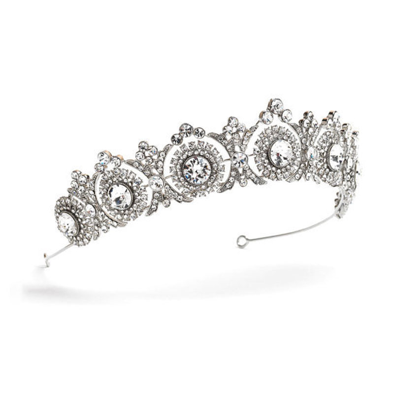 Tiaras and Crowns 2018 Wedding Hair Accessories Tiara Bridal Crown Wedding Tiaras for Brides Hair Ornaments black and coffee 2 colors hair tiara ancient chinese emperor or prince costume hair crown piece cosplay use for kids little boy