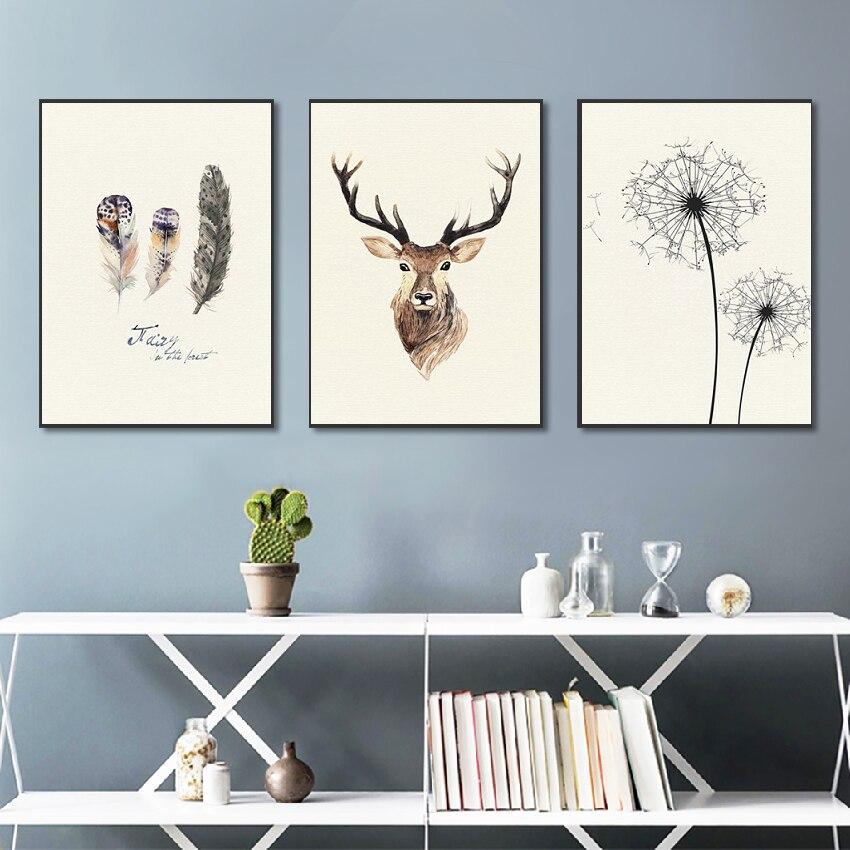 268 46 De Réductionstyle Scandinave Naturel Sans Cadre Elk Décoration Toile Peinture 3 Panneaux Sans Cadre Huile Image Pour La Décoration De La