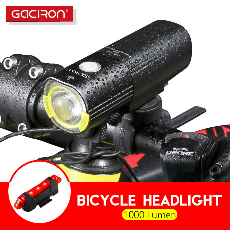 Gaciron 1000Lumen Bicycle Headlight Waterproof Front flashlight Professional MTB Road Bike LED Light USB Rechargeable Power