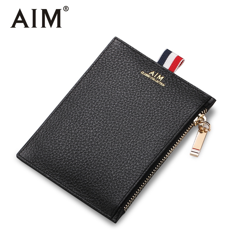 AIM 2018 New Fashion Men Coin Purse Black Color Men's Small Wallet Change Purses Money Bags Pocket Wallets Key Holder Q236