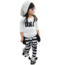 2015 Cool Fashion Design Autumn Clothes for Children, Girls Clothing Sets with J&L Letter Print Tracksuit, Free Shipping MY015
