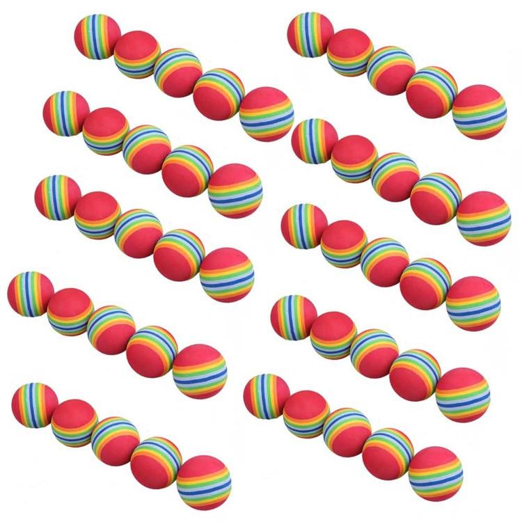 Free Shipping 50pcs/bag Rainbow Color Golf Training Foam Balls Golf Swing Indoor Training Aids Practice Sponge Foam Balls caiton 12pcs pack three four five layer golf balls golf standard game balls