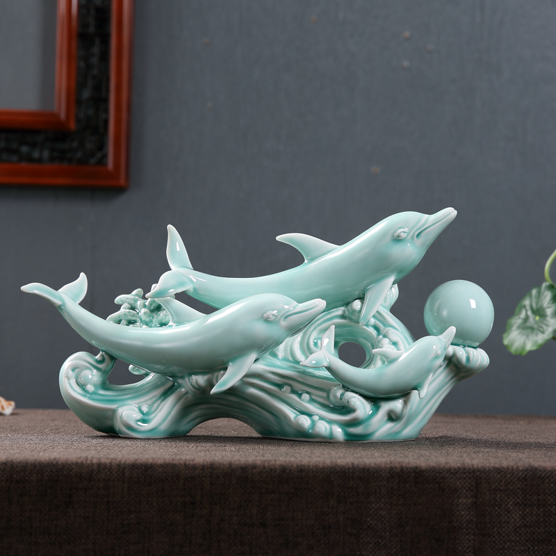 Ceramic Dolphin Nuclear Family Sculpture Decorative Porcelain Marine Animal Statue Chinaware Ornament Gift and Craft Accessories