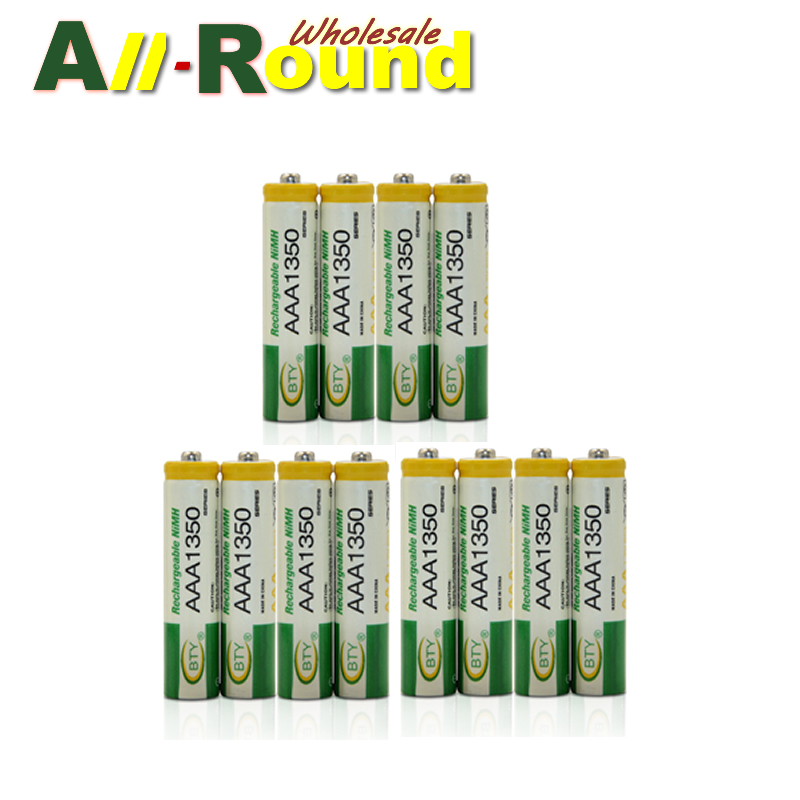 ON SALES!! FREE SHIPPING! BTY AAA 1350mAh Rechargeable Ni-MH Battery for LED Flashlight/Toy/PDA - B 12PCS/Lot