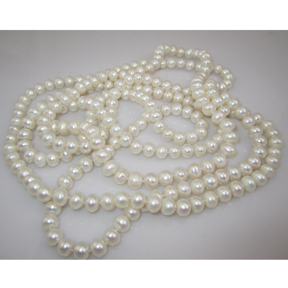 Free Shipping Natural Freshwater Pearl Long Necklace For Women 7-8MM Semiround Cultured Pearl цена и фото