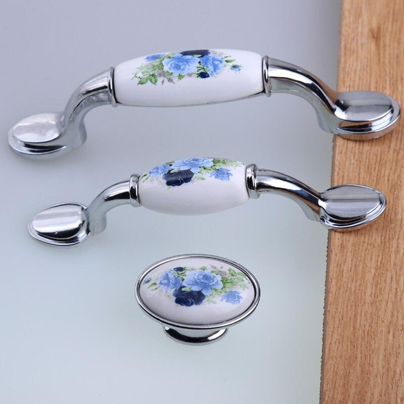 76mm rustico rural mode blaue blume keramik schublade tv schrank zieht knöpfe silber chrom küchenschrank schrank türgriffe