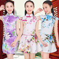 Floral Baby Girl Autumn summer Dresses Kid Chinese Style chi-pao cheongsams New Year gift Children's cheongsams Guzheng costumes
