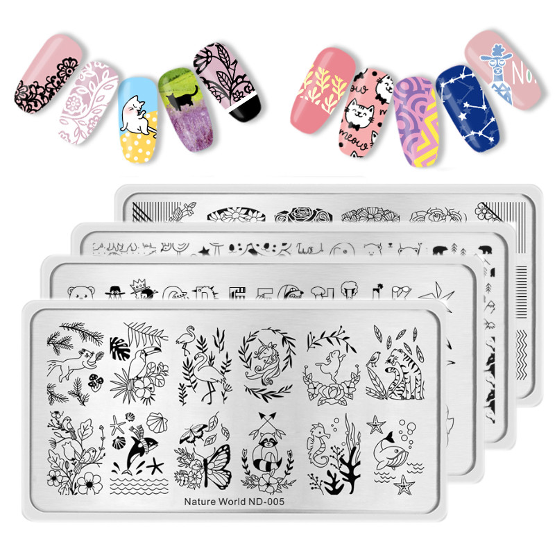 NICOLE DIARY Rectangle Round Nail Stamping Plates Animals Nature World Nail Art Image Plate For Nails