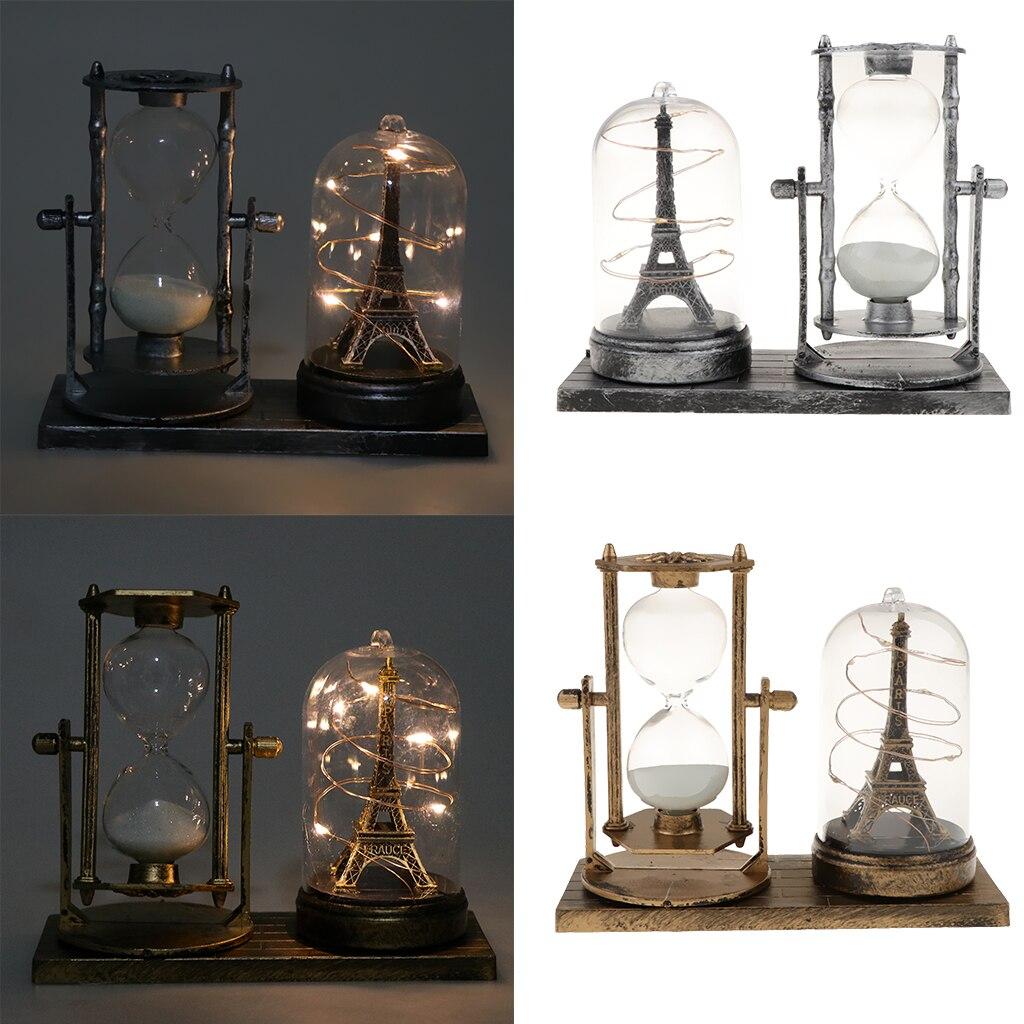 Ретро стиль железная башня светящиеся звезды огни песочные часы таймеры Настольный декоративный орнамент 125x155mm|Статуэтки и миниатюры|   | АлиЭкспресс