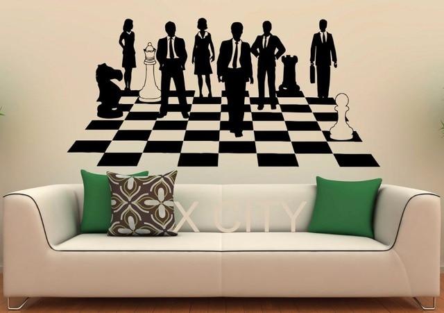 Juego de ajedrez etiqueta estrategia mostrar vinilo Oficina Diseo