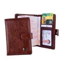 Couverture de passeport à loquet en cuir, portefeuille de cartes pour femmes, étui de crédit, couvertures de documents de voyage, passeport russe pour hommes, support organisateur
