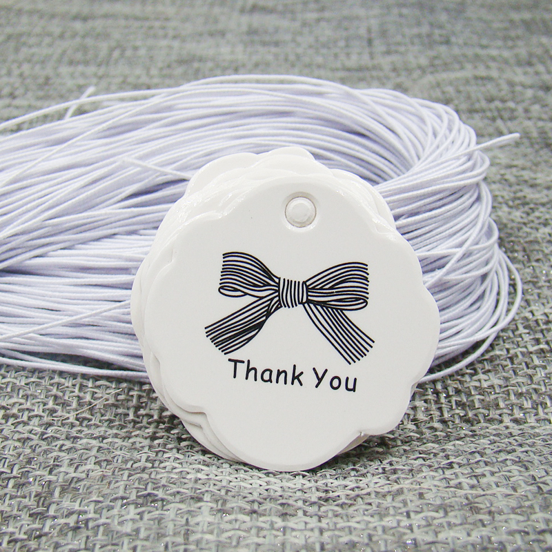 US $3.4 50% OFF|3cm white paper gift hang tag thank you with ribbon tag 200pcs +200pcs white elastic string for candy/wedding/cookie products|string zither|tag lock|string blue - AliExpress