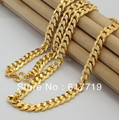 24KN-023 Free Shipping 24K Yellow Gold Plated 8MM Chain Necklace For Men, Greatbuy21 Mixed Order, Valentine's Day Gift