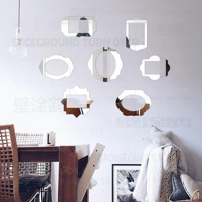 Rétro argent doré rose gris miroir mural coloré magnétique image Rectangle Set Photo cadre F005