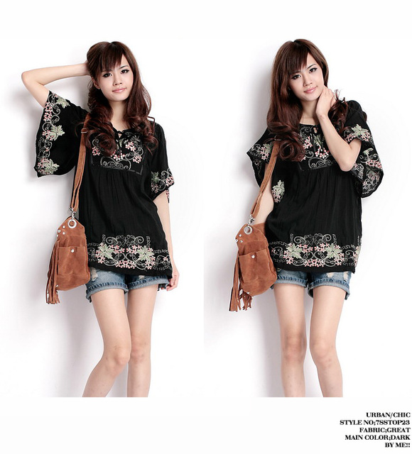 21e6e89c0cf0f Free Shipping Vintage 70s Batwing EMBROIDERED Floral Black Hippie Festival Boho  Tops Tunic Peasant Blouse Blusa Free Size
