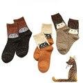 1 Par/lote Padrão Lindo Gato Meias Outono Inverno Estilo Criativo Bonito Meias Meninas Meias de Algodão Calcetines meias de Lã Das Mulheres