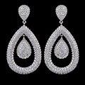 Completamente jeweled micro pave AAA circón de lujo pendientes de moda para mujeres, alta calidad del partido / de la boda pendientes accesorio de la joyería