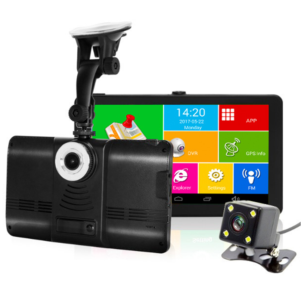 "7"" Android Car GPS Navigator DVR Camera Car Navigation FM Bluetooth AV-IN WIFI Europe/Russia Map Vehicle Dashcam Video Recorder(China)"
