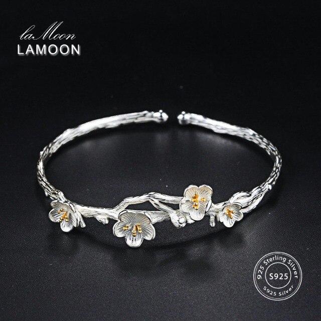 LAMOON Wiredrawing 2 Màu Sắc Mận Hoa S925 Vòng Đeo Tay & Bangle 925 Sterling Silver Bạc Đồ Trang Sức Mỹ cho Phụ Nữ Chống Dị Ứng LMHY006