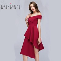 49ff9cfde5 New Arrival Charming Off The Shoulder Simple Homecoming Dresses Sexy  Sleeveless Irregular Graduation Dresses Short Dress
