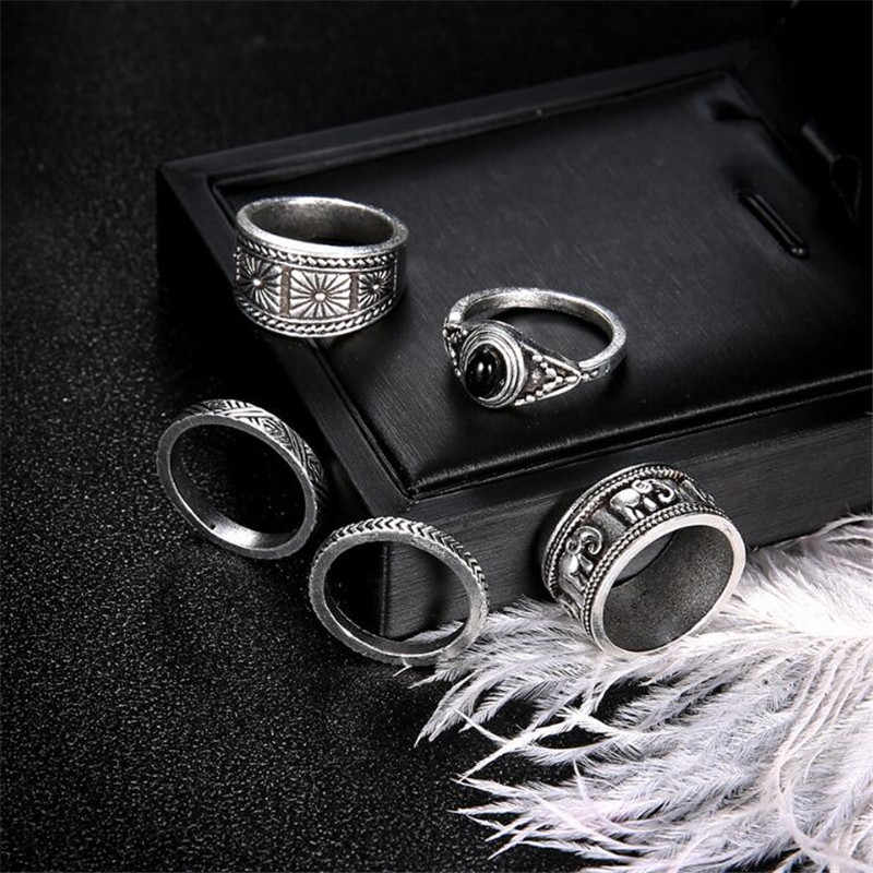 bd279d98eb ... BUTEELUVV Ethnic Elephant Engraved Wide Rings Set Fashion Indian  Jewelry Vintage Antique Silver Color Geometric Rings ...