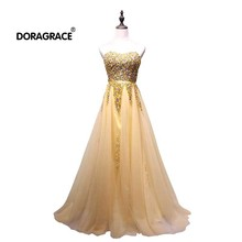 Doragrace robe de soiree Real Photos Sweetheart Sleeveless Lace-Up Tulle Prom Dresses Long Evening Gowns