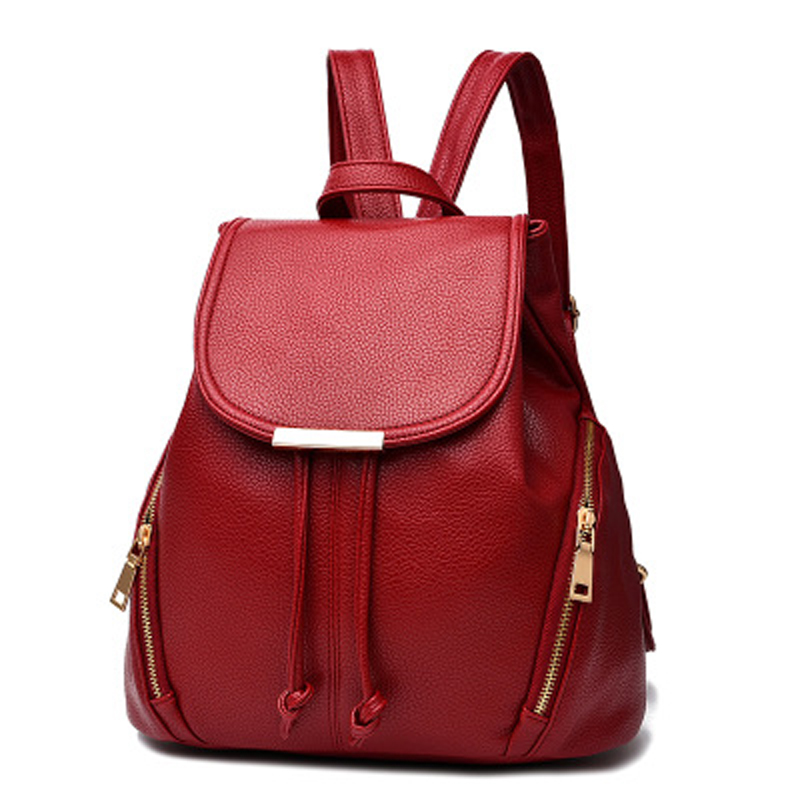 Womans Travel Backpack High Quality PU Casual Shoulder Bag Big Capacity Backbag Female Zipper School Bag Solid Bag