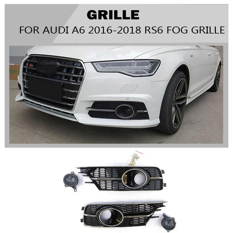 A6 ABS Black Mesh Fog Light Grille Protective Covers for