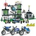 Kits de edificio modelo compatible con lego city police station de motocicleta establece bloques 3D modelo Educativo y juguetes de construcción
