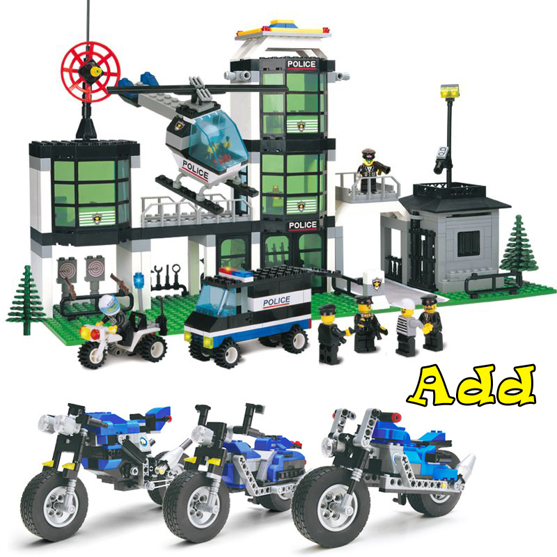 Model building kits compatible with lego city police station add motorcycle sets 3D blocks Educational model & building toys lepin 02012 city deepwater exploration vessel 60095 building blocks policeman toys children compatible with lego gift kid sets