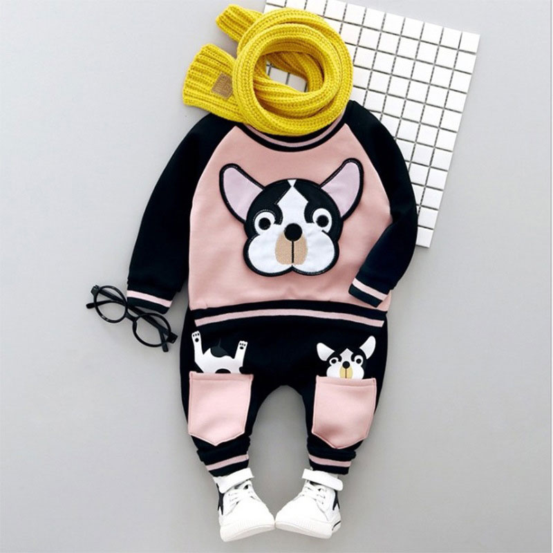 Spring Autumn Newborn Cute Dog Outfits Baby Boys Suit Sports T-Shirt Top+ Pant long Sleeve Infant Clothing Casual Set Clothes