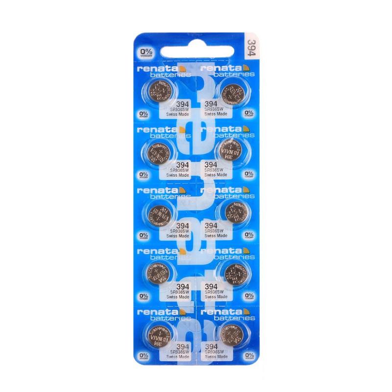 RENATA 10pcs/pack Silver Oxide <font><b>Watch</b></font> <font><b>Battery</b></font> <font><b>394</b></font> SR936SW 936 1.55V 100% <font><b>394</b></font> Renata 936 <font><b>Batteries</b></font>