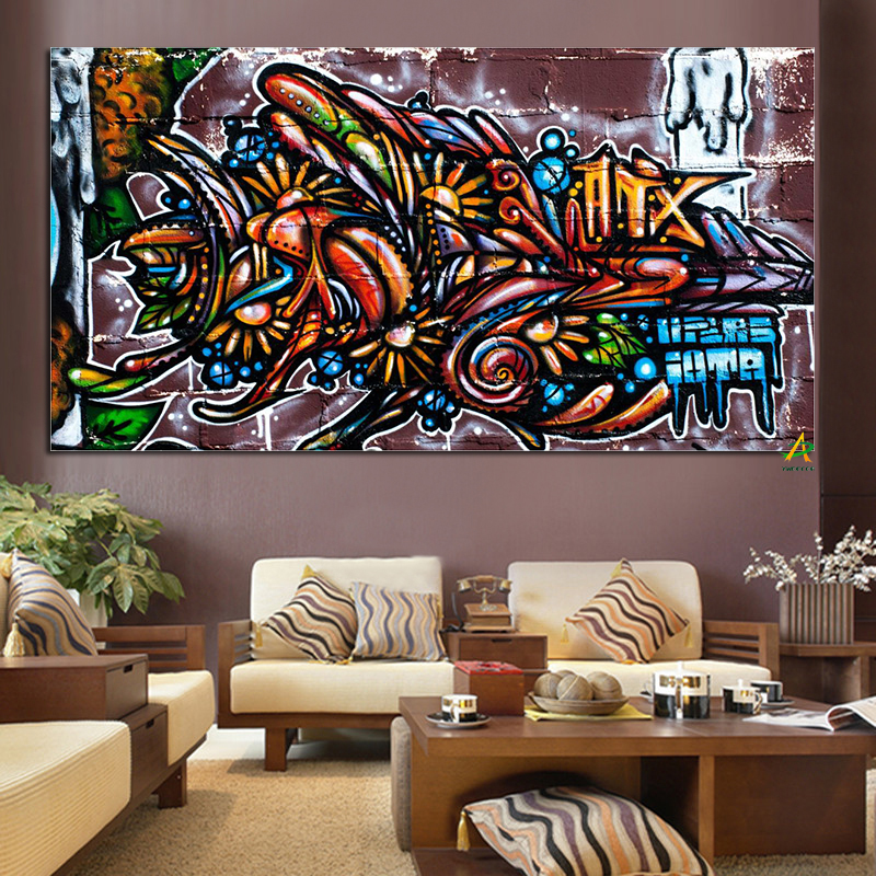 Us 3 98 30 Off Cool Colorful Graffiti Abstract Art Picture Hanging On The Wall In Painting Calligraphy From Home Garden On Aliexpress