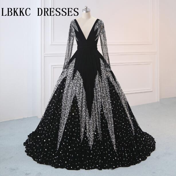 Robe De Soiree Long Sleeves Black   Evening     Dresses   Velvet V Neck Floor Length Ball Gown Vestido De Festa Longo