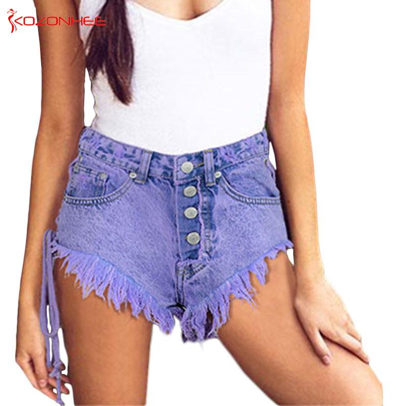 Summer Macaron Purple Women Denim   Shorts   With High Waist Torn Fashion Sexy Denim   Shorts   With Holes