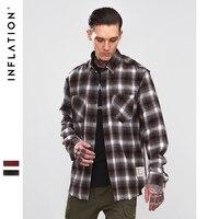 INFLATION Face Emboridery Vintage Shirt Men Plaid Long Sleeve Check Shirts For Men Loose Men hirt Men Casual Streetwear 8712W