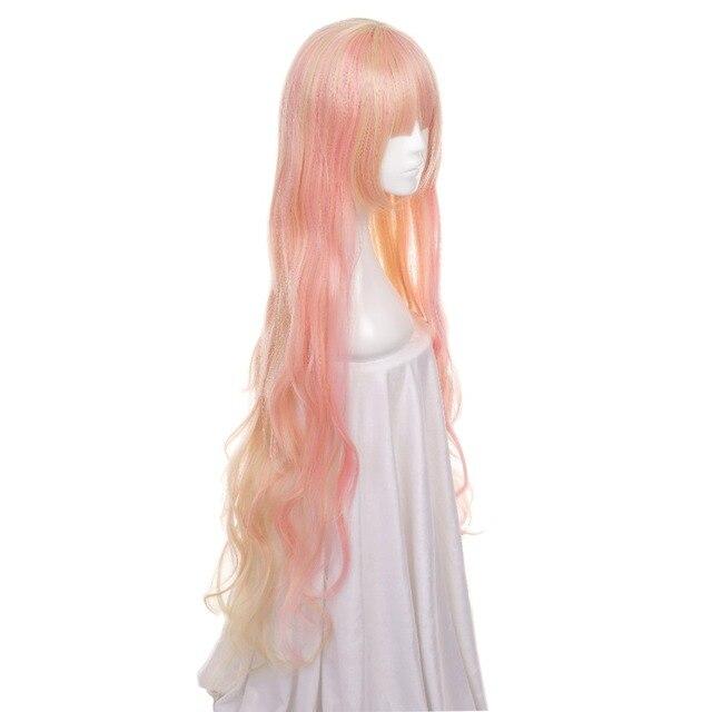 Ccutoo 120cm Macross sheryl Rosa mezcla de rubio ondulado sintético largo Peluca de fibra resistente al calor Cosplay pelucas de pelo
