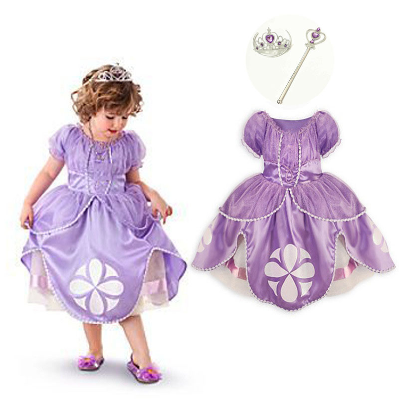 Girls Princess Sofia Dresses Kids Clothes for Girl Cocktail Dress Puff Sleeve Infant Party Wear Girls Halloween Costumes Set long hair princess sofia dress warm butterfly purple performance evening party chrismas new year girls costumes kid clothes