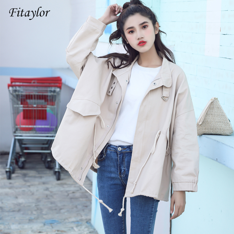 Fitaylor Spring Autumn   Trench   Coats Women Casual Long Sleeve Tie Up Female Zipper Windbreaker Coat Loose Outerwear