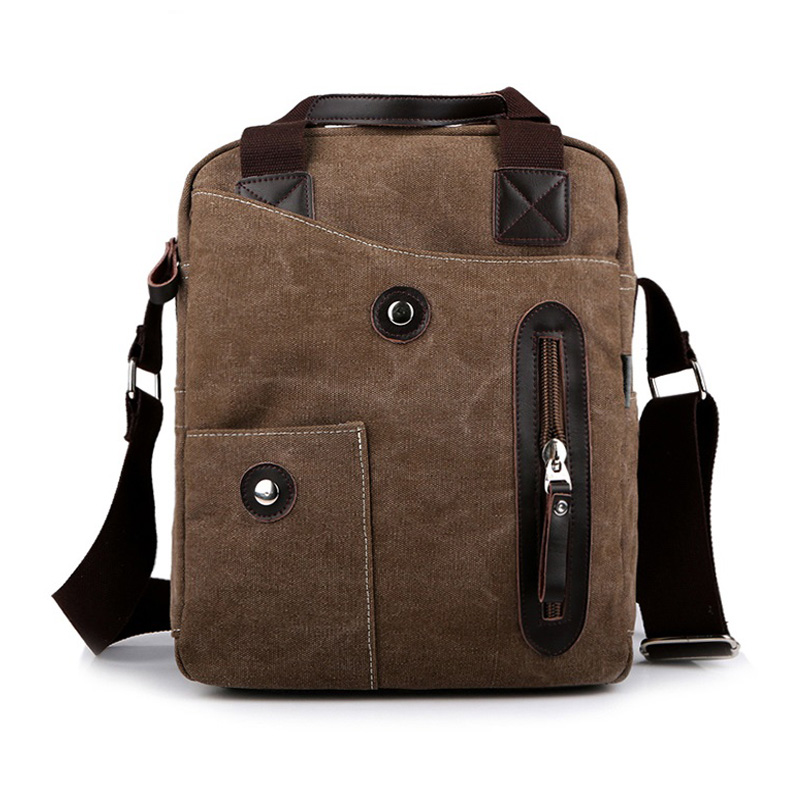 Vintage Men's Bag High Quality Canvas Male Messenger Bag Multi Function Men Shoulder Bag Black Brown Kaki Green Bussiness Bag japanese pouch small hand carry green canvas heat preservation lunch box bag for men and women shopping mama bag