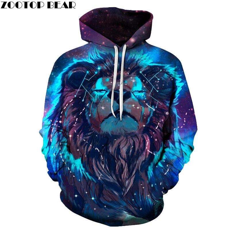 Lion Konstellation Gedruckt Hoodies 3D Männer Frauen Mit Kapuze Pullover 6XL Sweatshirts Casual Tasche Outwear Neuheit Mantel ZOOTOP BÄR