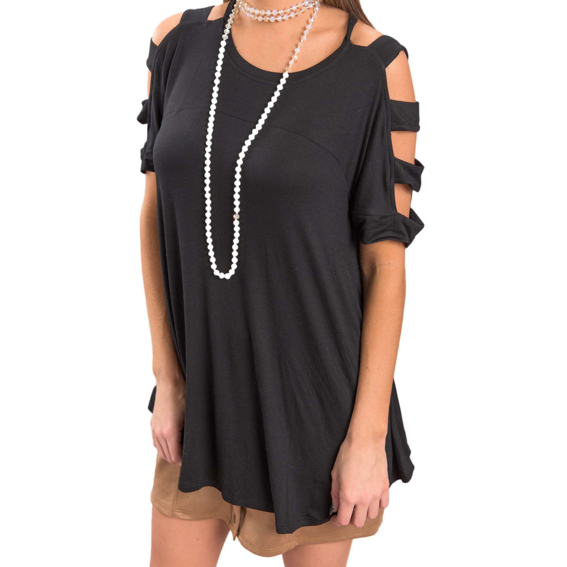 Black batwing sleeve dress