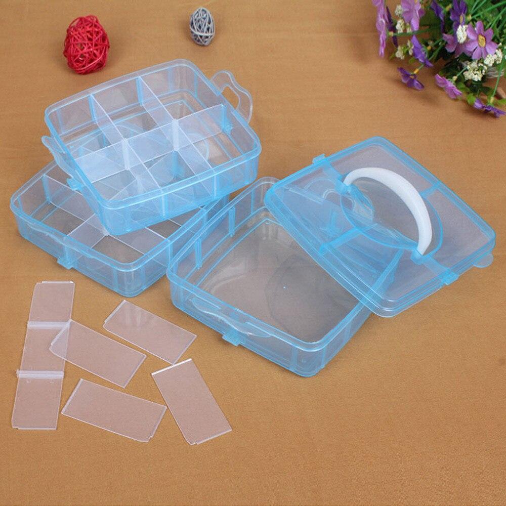 Transparent Storage Box Plastic Craft Beads Jewellery Organizer Case Desktop Storage Tools High Quality Removable 3-layers