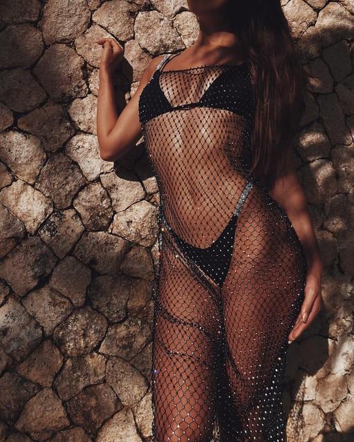 2021 New Fish New Swimwear Cover Ups Sexy Crochet Mesh Beachdress Sarong Wrap Bikini Handmade Long Smock 1