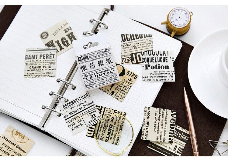 Купить с кэшбэком 45PCS/PACK Retro Newspaper Sticker Marker Planner Diary School Supplies Vintage Stickers Scrapbooking DIY Bullet Journal sl1823