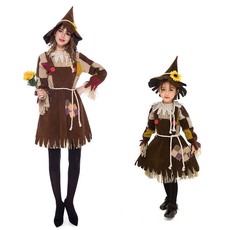Wizard of OZ Costume Kids Adult Women Performance Scarecrow Cosplay Fancy Party Dress Halloween Carnival Girls