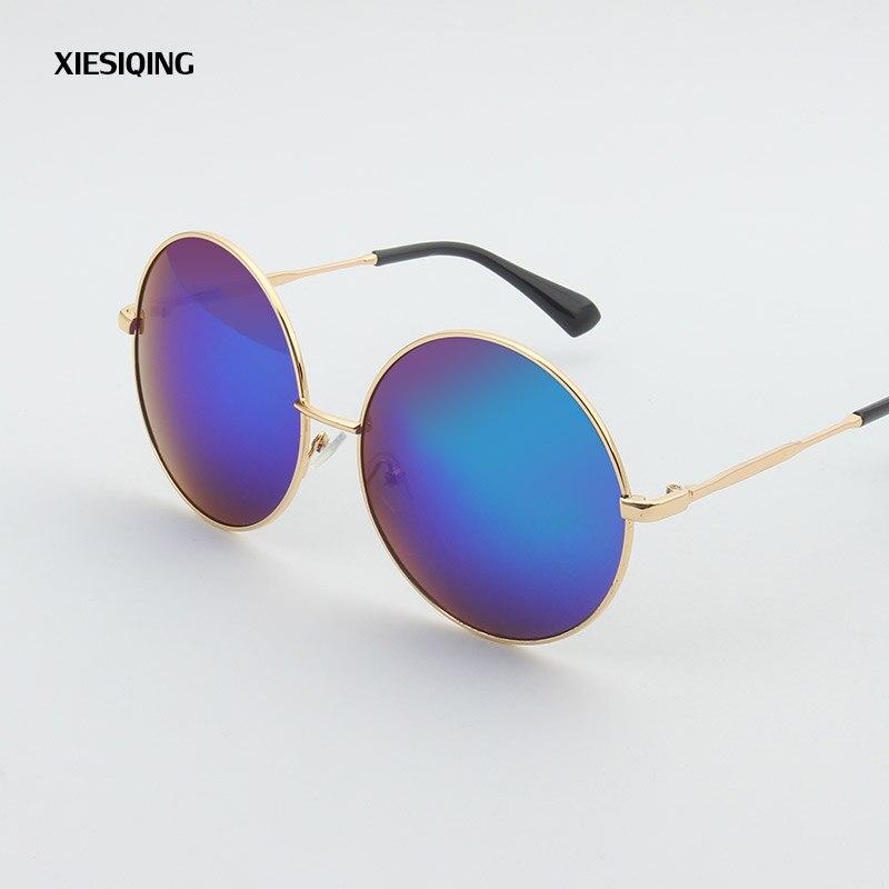 2017 Neue Marke Designer Frauen Runde Sonnenbrille Frauen Fashion Vintage Metall Sonnenbrille Blau Getönt Brillen Uv400 Einfach Zu Reparieren