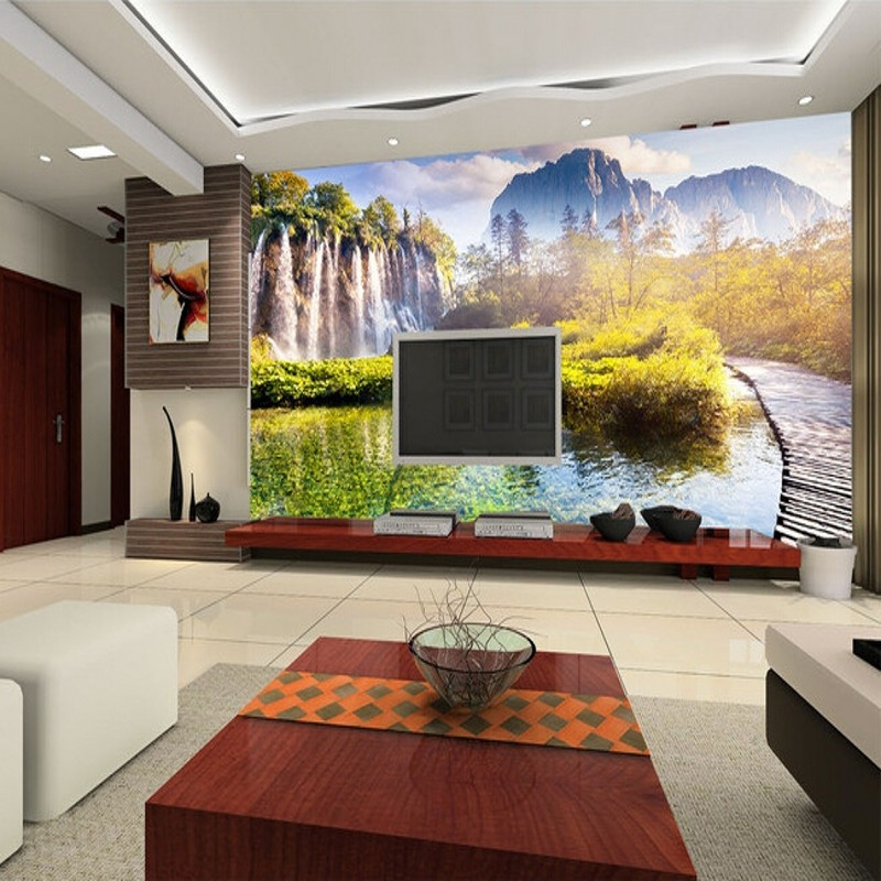 scenic waterfall living stereo 3d bedroom landscape background mural sofa tv