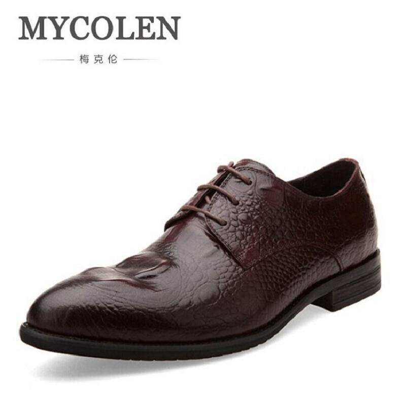 MYCOLEN Men Genuine Leather Flat Wedding Shoes Mens Wine Red Black Business Casual Party Gentleman Wedding Shoes Crocodile hot sale mens italian style flat shoes genuine leather handmade men casual flats top quality oxford shoes men leather shoes