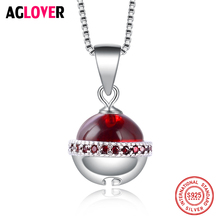 Real 925 Sterling Silver Box Chain Zircon Ball Necklaces Pendant Fashion Sterling-Silver-Jewelry Statement Necklace For Women new 925 sterling silver zircon square circle necklaces pendant fashion sterling silver jewelry statement for women bijoux